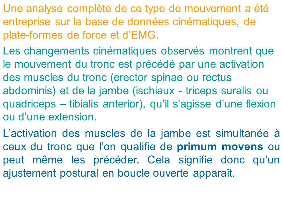 Les changements cinématiques observés montrent que le mouvement du tronc est précédé par une activation des muscles du tronc (erector spinae ou rectus