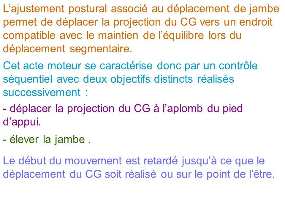 Cet acte moteur se caractérise donc par un contrôle séquentiel avec deux objectifs distincts réalisés successivement : - déplacer la projection du CG