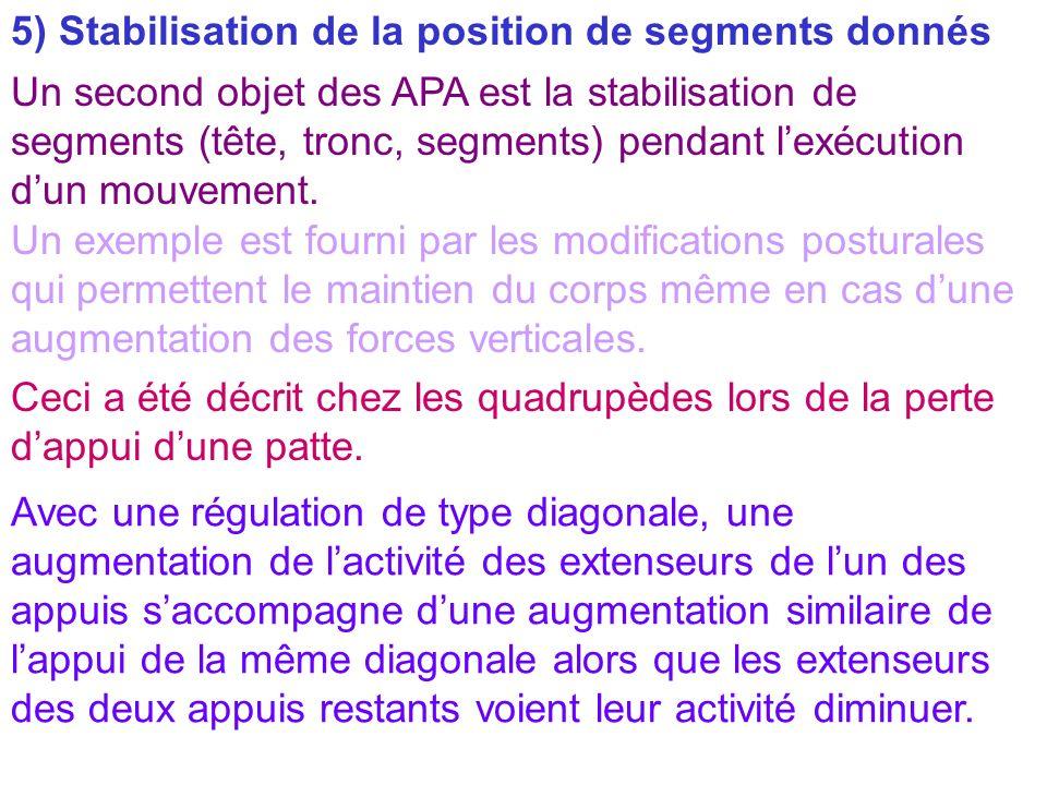5) Stabilisation de la position de segments donnés Un second objet des APA est la stabilisation de segments (tête, tronc, segments) pendant lexécution