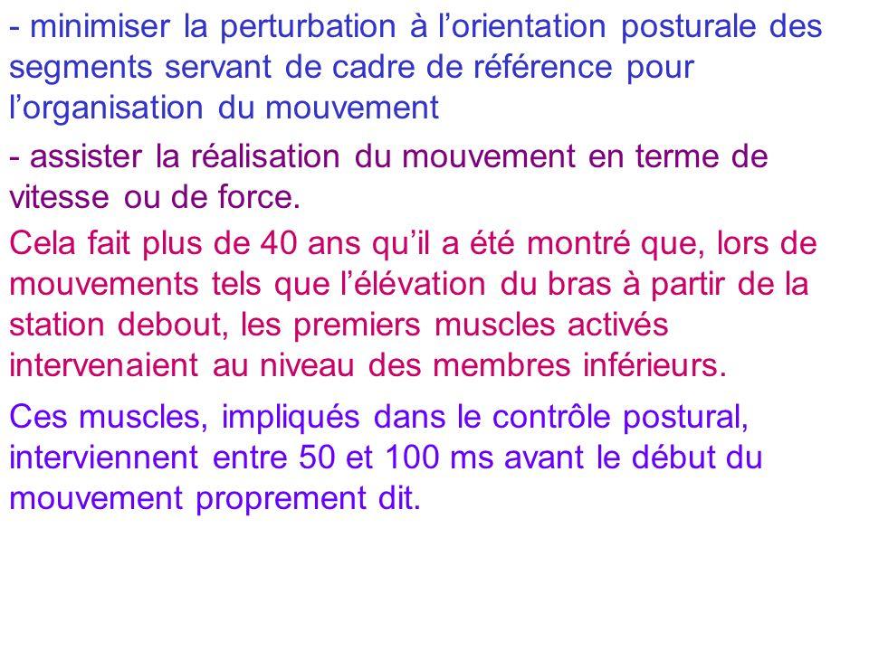 - minimiser la perturbation à lorientation posturale des segments servant de cadre de référence pour lorganisation du mouvement - assister la réalisat