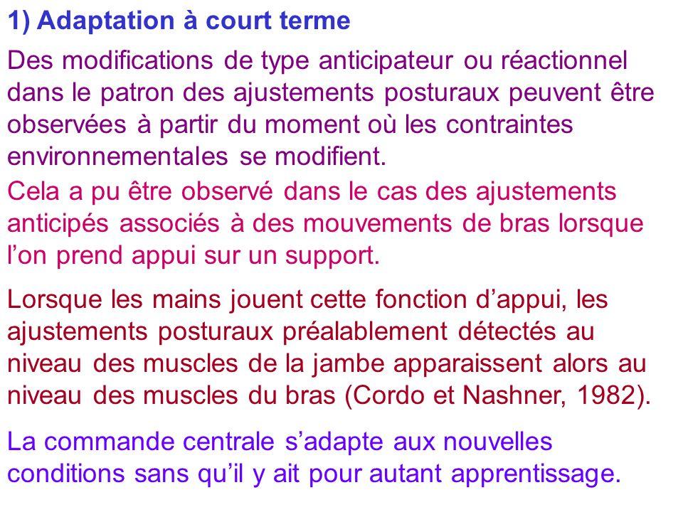 1) Adaptation à court terme Des modifications de type anticipateur ou réactionnel dans le patron des ajustements posturaux peuvent être observées à pa
