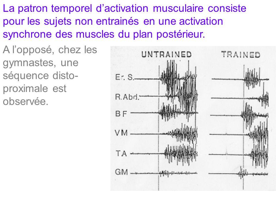 La patron temporel dactivation musculaire consiste pour les sujets non entrainés en une activation synchrone des muscles du plan postérieur. A lopposé