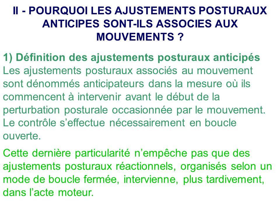 1) Définition des ajustements posturaux anticipés Les ajustements posturaux associés au mouvement sont dénommés anticipateurs dans la mesure où ils co