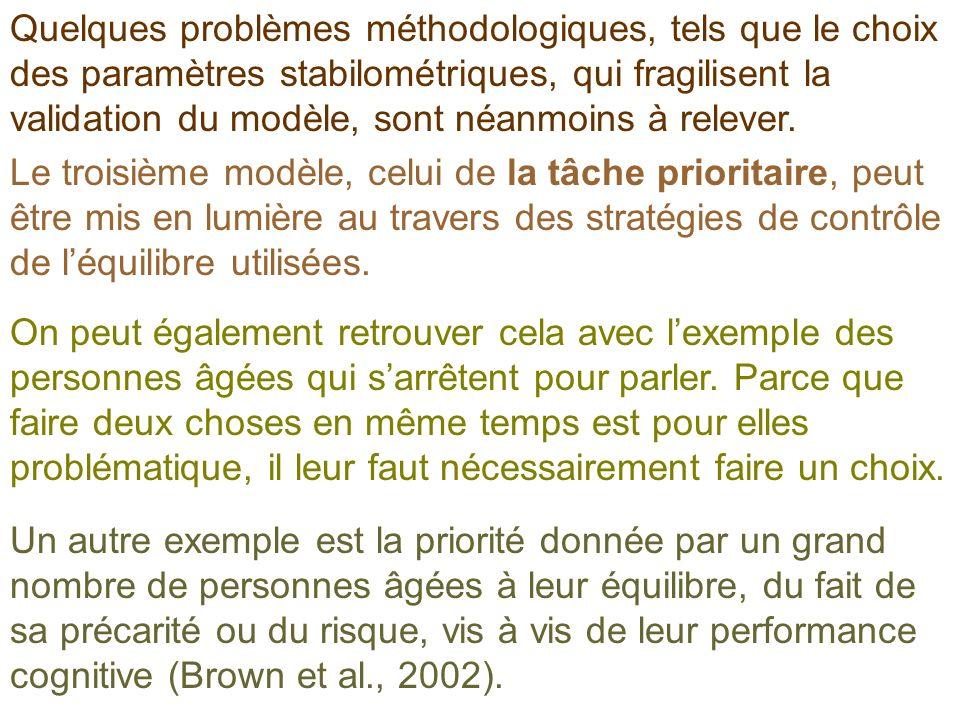 Quelques problèmes méthodologiques, tels que le choix des paramètres stabilométriques, qui fragilisent la validation du modèle, sont néanmoins à relev