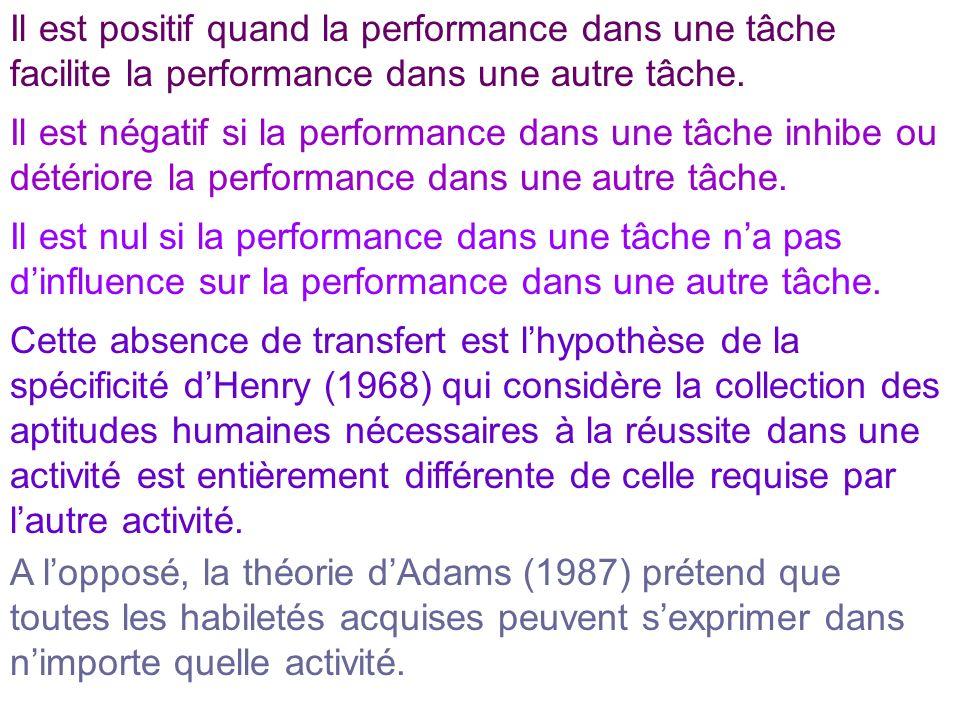 Il est positif quand la performance dans une tâche facilite la performance dans une autre tâche. Il est négatif si la performance dans une tâche inhib