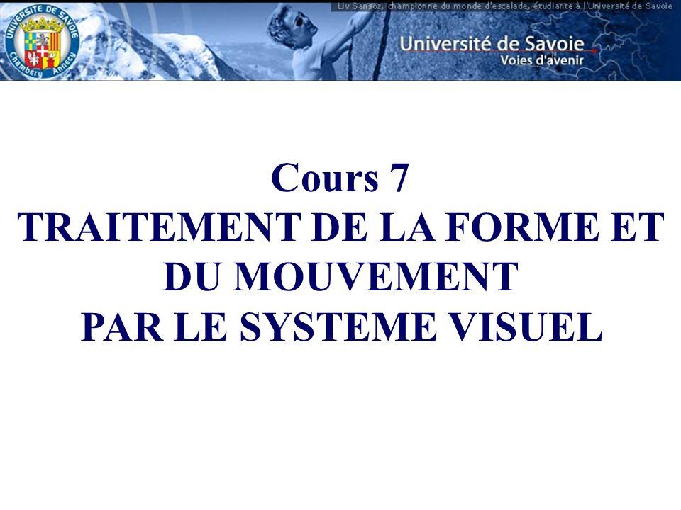 Cours 7 TRAITEMENT DE LA FORME ET DU MOUVEMENT PAR LE SYSTEME VISUEL