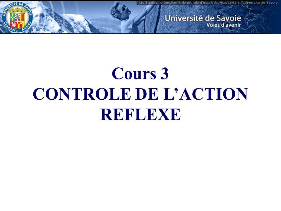 Cours 3 CONTROLE DE LACTION REFLEXE