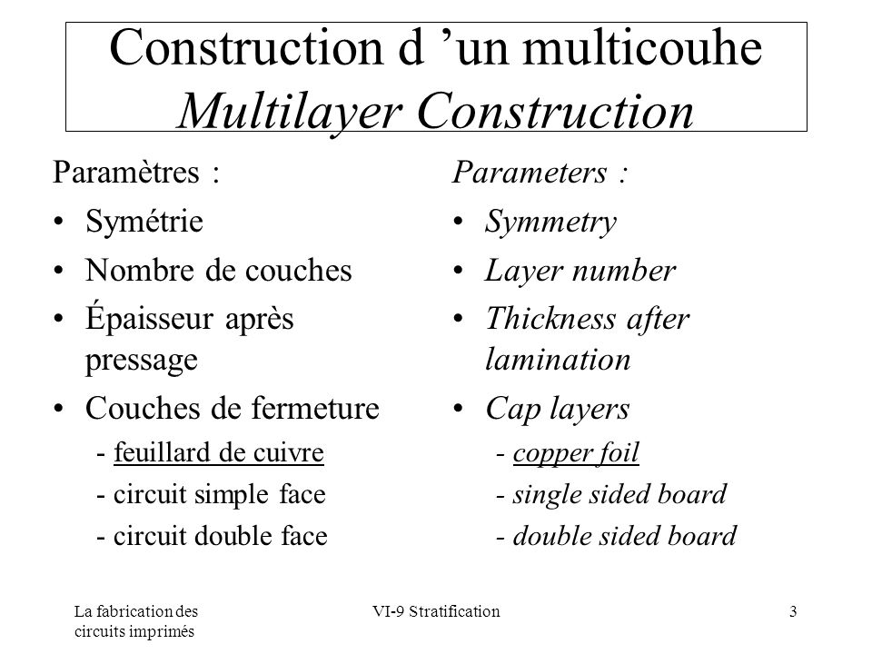 La fabrication des circuits imprimés VI-9 Stratification3 Construction d un multicouhe Multilayer Construction Paramètres : Symétrie Nombre de couches Épaisseur après pressage Couches de fermeture - feuillard de cuivre - circuit simple face - circuit double face Parameters : Symmetry Layer number Thickness after lamination Cap layers - copper foil - single sided board - double sided board