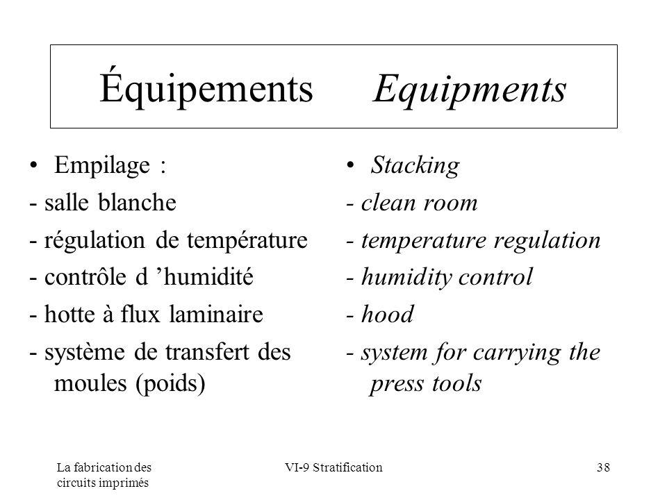 La fabrication des circuits imprimés VI-9 Stratification38 Équipements Equipments Empilage : - salle blanche - régulation de température - contrôle d