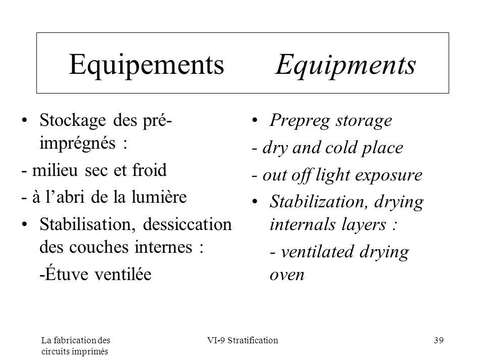 La fabrication des circuits imprimés VI-9 Stratification39 Equipements Equipments Stockage des pré- imprégnés : - milieu sec et froid - à labri de la
