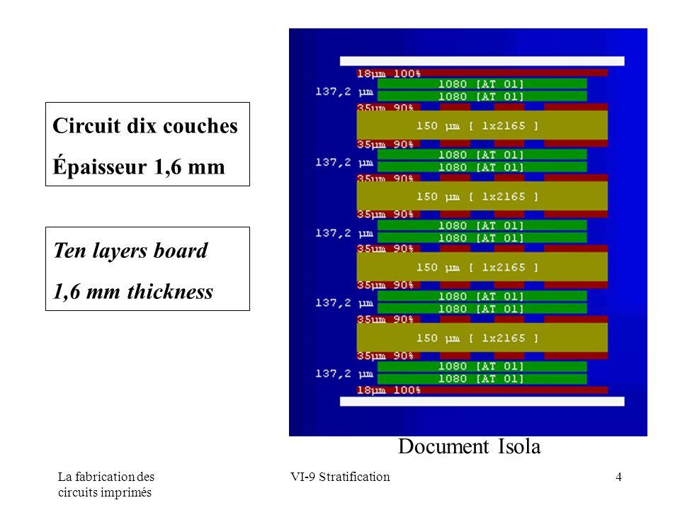 La fabrication des circuits imprimés VI-9 Stratification35 Paramètres de pressage Pressing parameters Température (°C) Temperature (°C) 180 120 60 Pression (bar) Pressure(bar) 15 10 5 Temps (mn) Time (mn) 3060 90 Pressage sous vide Vacuum chamber press FR4