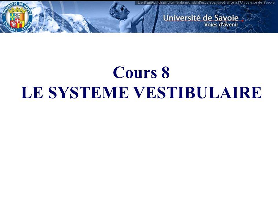 Cours 8 LE SYSTEME VESTIBULAIRE