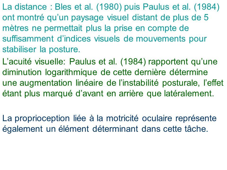 La distance : Bles et al. (1980) puis Paulus et al. (1984) ont montré quun paysage visuel distant de plus de 5 mètres ne permettait plus la prise en c