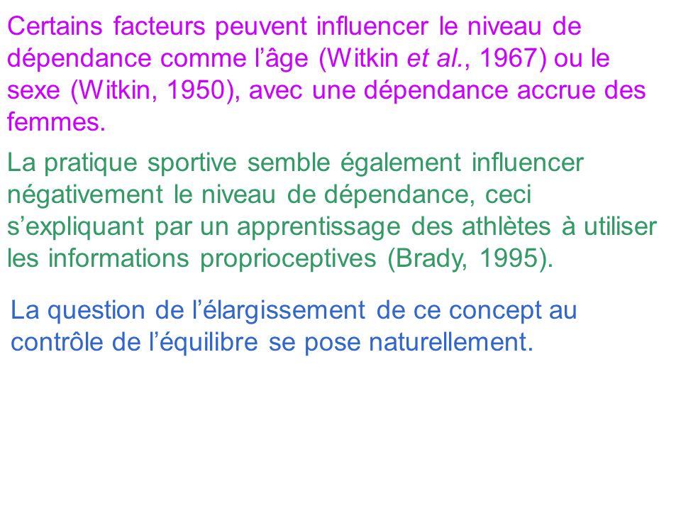 Certains facteurs peuvent influencer le niveau de dépendance comme lâge (Witkin et al., 1967) ou le sexe (Witkin, 1950), avec une dépendance accrue de
