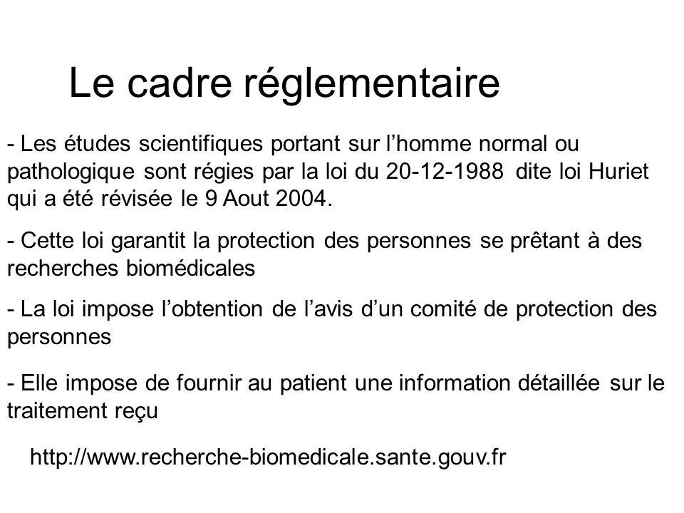 Le cadre réglementaire - Les études scientifiques portant sur lhomme normal ou pathologique sont régies par la loi du 20-12-1988 dite loi Huriet qui a