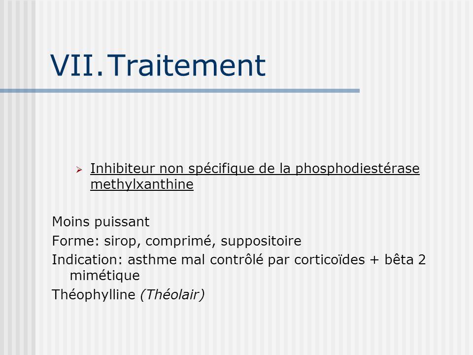 VII.Traitement Inhibiteur non spécifique de la phosphodiestérase methylxanthine Moins puissant Forme: sirop, comprimé, suppositoire Indication: asthme mal contrôlé par corticoïdes + bêta 2 mimétique Théophylline (Théolair)