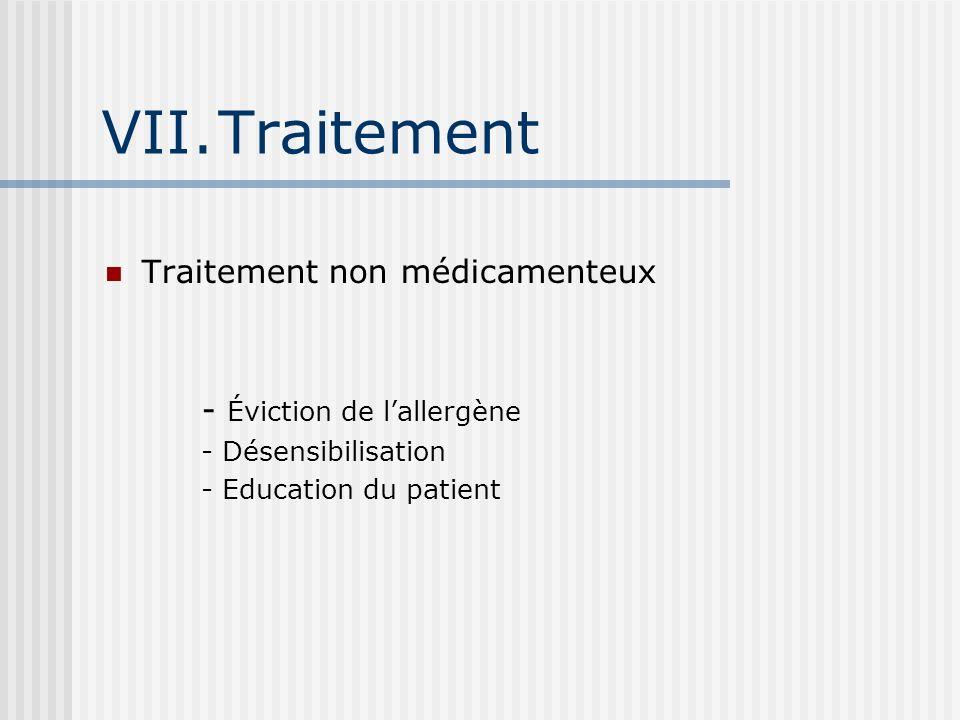 VII.Traitement Traitement non médicamenteux - Éviction de lallergène - Désensibilisation - Education du patient