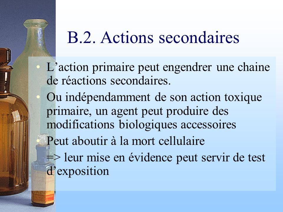 B.2. Actions secondaires Laction primaire peut engendrer une chaine de réactions secondaires. Ou indépendamment de son action toxique primaire, un age
