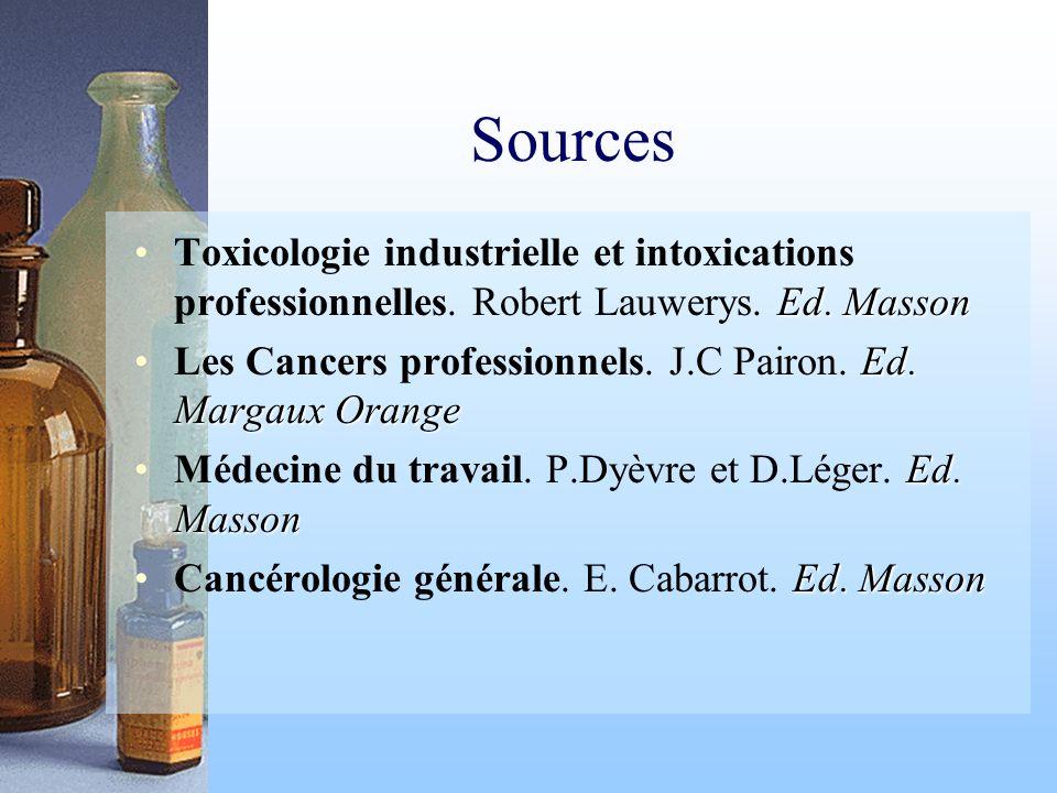 Sources Ed. MassonToxicologie industrielle et intoxications professionnelles. Robert Lauwerys. Ed. Masson Ed. Margaux OrangeLes Cancers professionnels