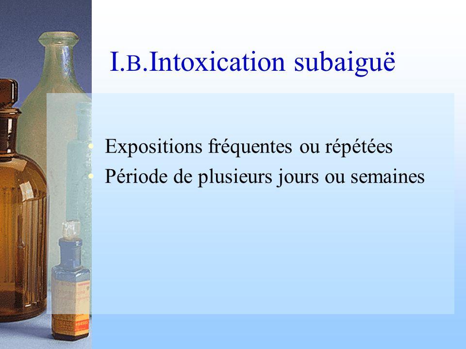 I. B.Intoxication subaiguë Expositions fréquentes ou répétées Période de plusieurs jours ou semaines