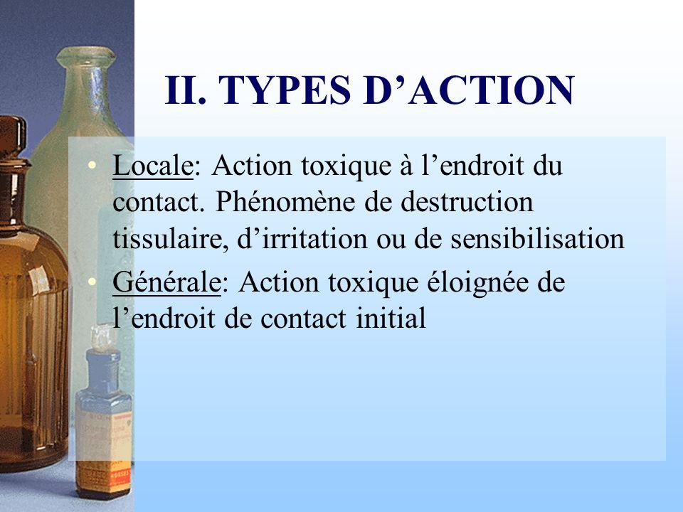 II. TYPES DACTION Locale: Action toxique à lendroit du contact. Phénomène de destruction tissulaire, dirritation ou de sensibilisation Générale: Actio