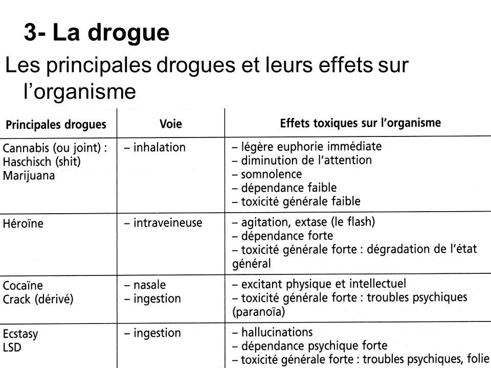3- La drogue Les principales drogues et leurs effets sur lorganisme