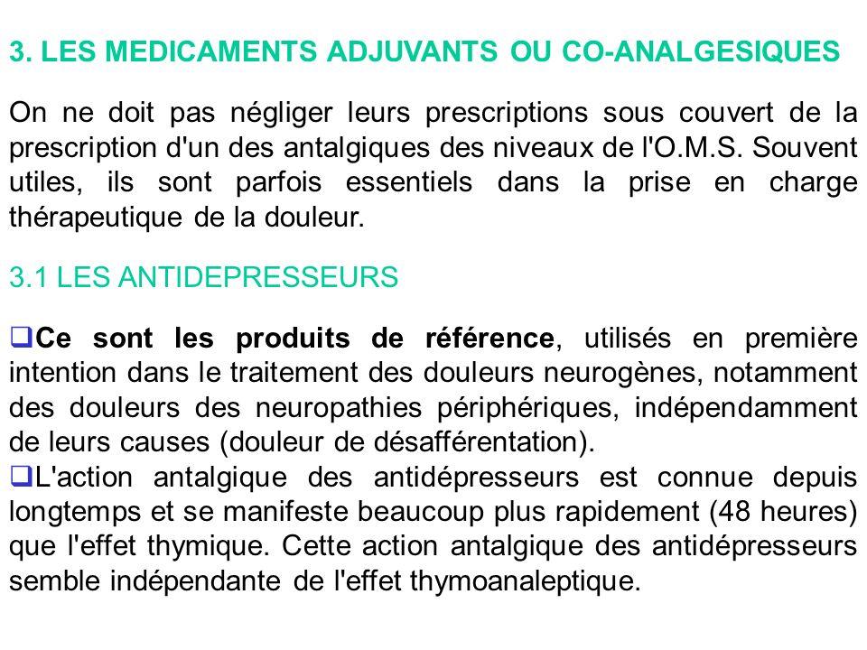 3. LES MEDICAMENTS ADJUVANTS OU CO-ANALGESIQUES On ne doit pas négliger leurs prescriptions sous couvert de la prescription d'un des antalgiques des n