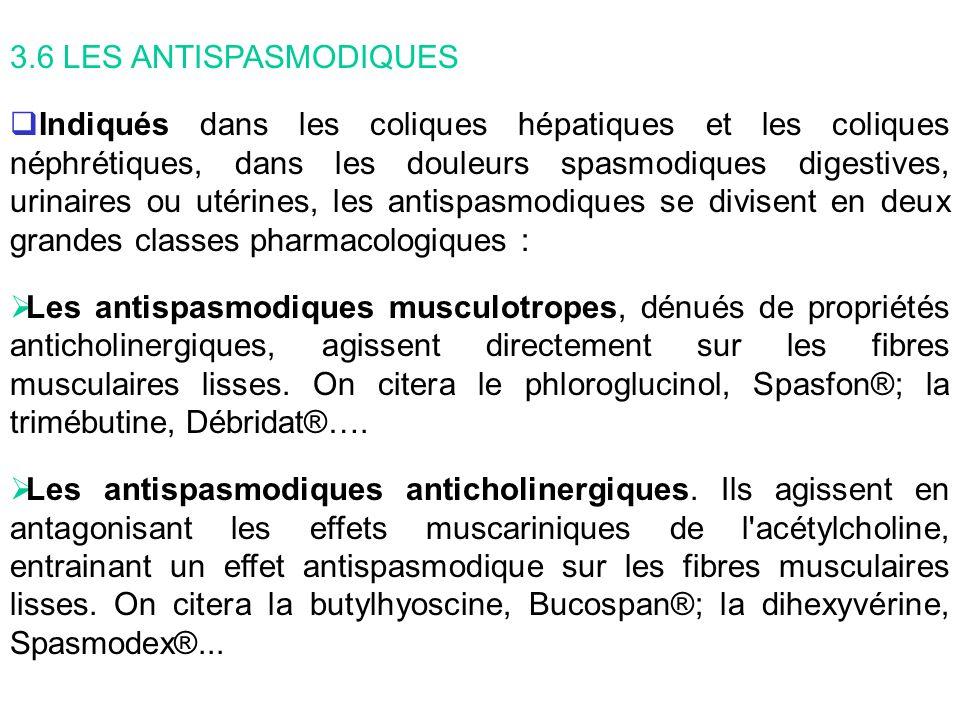 3.6 LES ANTISPASMODIQUES Indiqués dans les coliques hépatiques et les coliques néphrétiques, dans les douleurs spasmodiques digestives, urinaires ou u