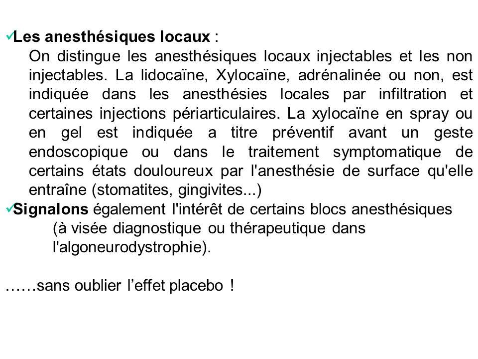 Les anesthésiques locaux : On distingue les anesthésiques locaux injectables et les non injectables. La lidocaïne, Xylocaïne, adrénalinée ou non, est