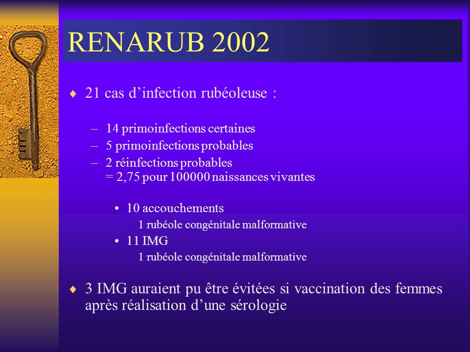 RENARUB 2002 21 cas dinfection rubéoleuse : –14 primoinfections certaines –5 primoinfections probables –2 réinfections probables = 2,75 pour 100000 na