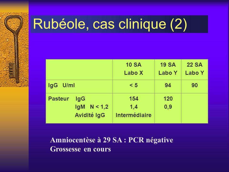 10 SA Labo X 19 SA Labo Y 22 SA Labo Y IgG U/ml< 59490 Pasteur IgG IgM N < 1,2 Avidité IgG 154 1,4 Intermédiaire 120 0,9 Amniocentèse à 29 SA : PCR né