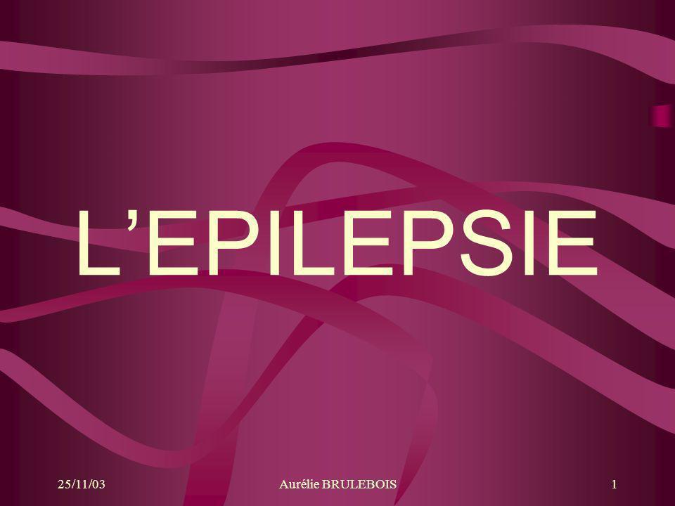 25/11/03Aurélie BRULEBOIS1 LEPILEPSIE