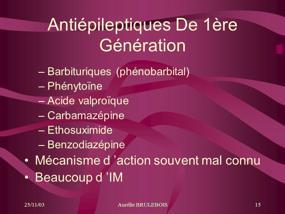 25/11/03Aurélie BRULEBOIS15 Antiépileptiques De 1ère Génération –Barbituriques (phénobarbital) –Phénytoïne –Acide valproïque –Carbamazépine –Ethosuxim