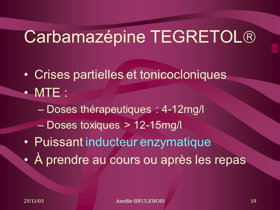 25/11/03Aurélie BRULEBOIS19 Carbamazépine TEGRETOL Crises partielles et tonicocloniques MTE : –Doses thérapeutiques : 4-12mg/l –Doses toxiques > 12-15