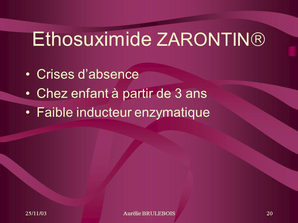 25/11/03Aurélie BRULEBOIS20 Ethosuximide ZARONTIN Crises dabsence Chez enfant à partir de 3 ans Faible inducteur enzymatique