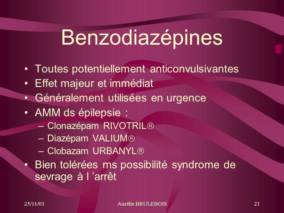 25/11/03Aurélie BRULEBOIS21 Benzodiazépines Toutes potentiellement anticonvulsivantes Effet majeur et immédiat Généralement utilisées en urgence AMM d