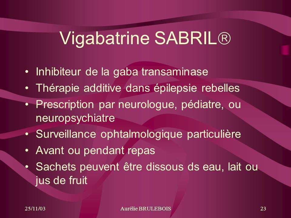 25/11/03Aurélie BRULEBOIS23 Vigabatrine SABRIL Inhibiteur de la gaba transaminase Thérapie additive dans épilepsie rebelles Prescription par neurologu