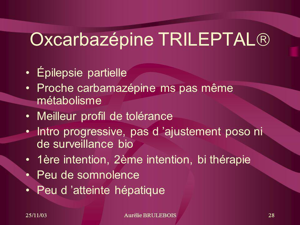 25/11/03Aurélie BRULEBOIS28 Oxcarbazépine TRILEPTAL Épilepsie partielle Proche carbamazépine ms pas même métabolisme Meilleur profil de tolérance Intr