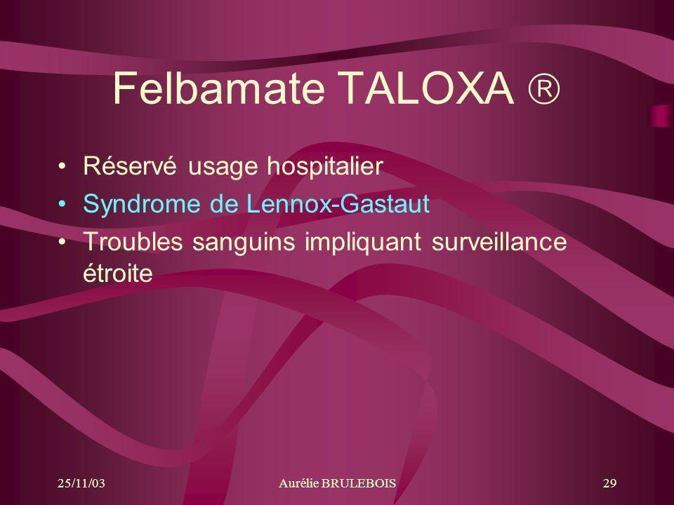 25/11/03Aurélie BRULEBOIS29 Felbamate TALOXA Réservé usage hospitalier Syndrome de Lennox-Gastaut Troubles sanguins impliquant surveillance étroite