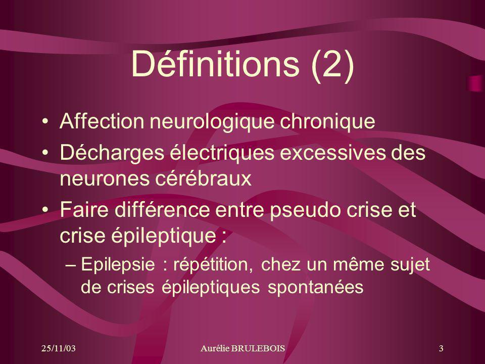 25/11/03Aurélie BRULEBOIS14 Evolution et Pronostic Epilepsies spontanément bénignes Epilepsies pharmacosensibles –Rémission permanente sous ttt –Autorise larrêt du ttt après un certain temps Epilepsies pharmacodépendantes : –Pas de guérison spontanée, –Ttt à vie Epilepsies pharmacorésistantes : –Chronique et résistante au ttt –Pronostic défavorable (rupture sociale)
