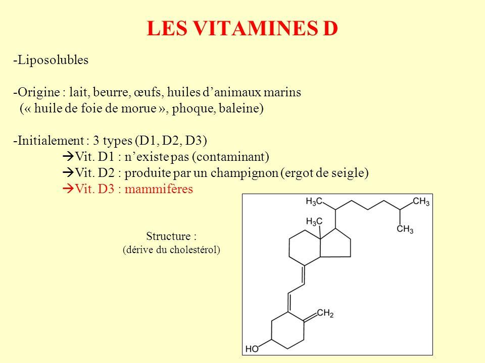 LES VITAMINES D -Liposolubles -Origine : lait, beurre, œufs, huiles danimaux marins (« huile de foie de morue », phoque, baleine) -Initialement : 3 ty