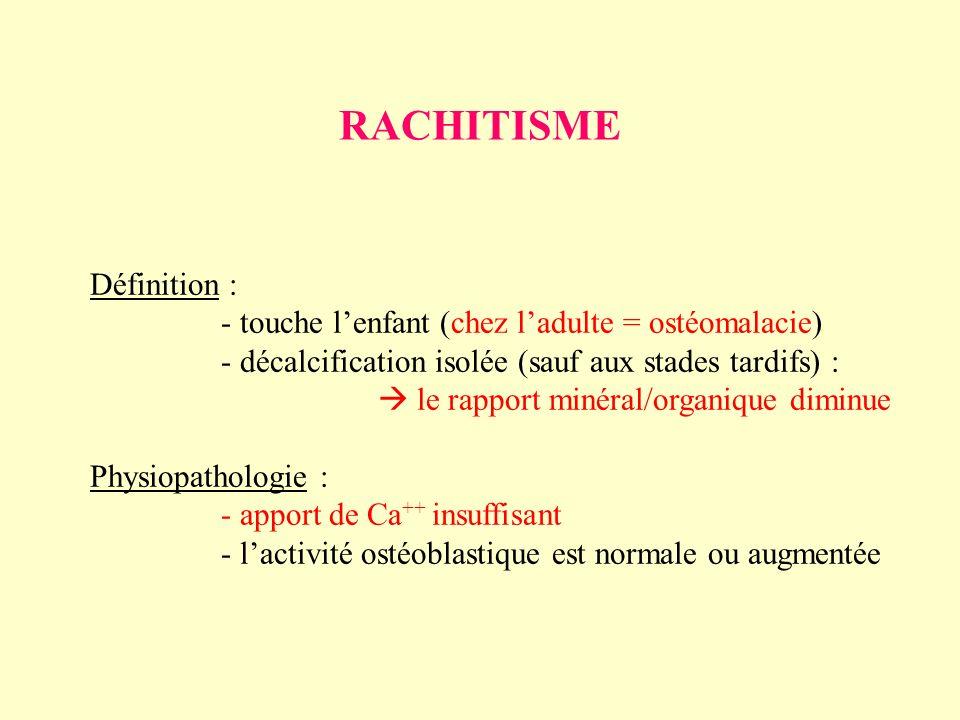 RACHITISME Définition : - touche lenfant (chez ladulte = ostéomalacie) - décalcification isolée (sauf aux stades tardifs) : le rapport minéral/organiq
