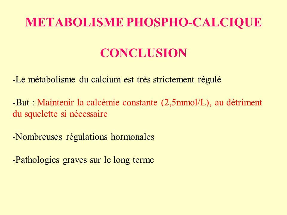 METABOLISME PHOSPHO-CALCIQUE CONCLUSION -Le métabolisme du calcium est très strictement régulé -But : Maintenir la calcémie constante (2,5mmol/L), au