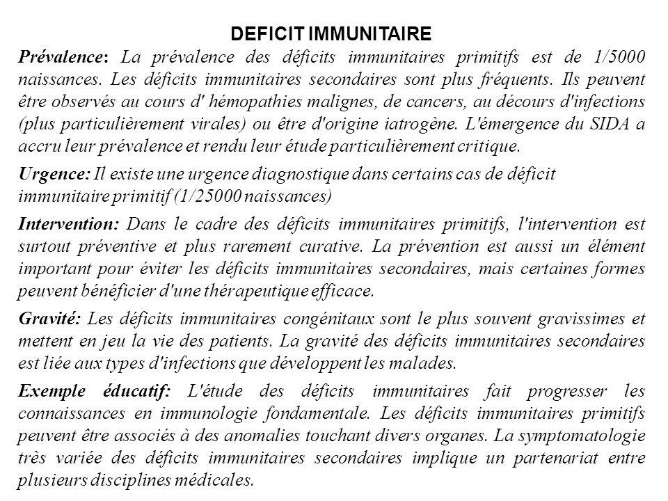 DEFICIT IMMUNITAIRE Prévalence: La prévalence des déficits immunitaires primitifs est de 1/5000 naissances. Les déficits immunitaires secondaires sont