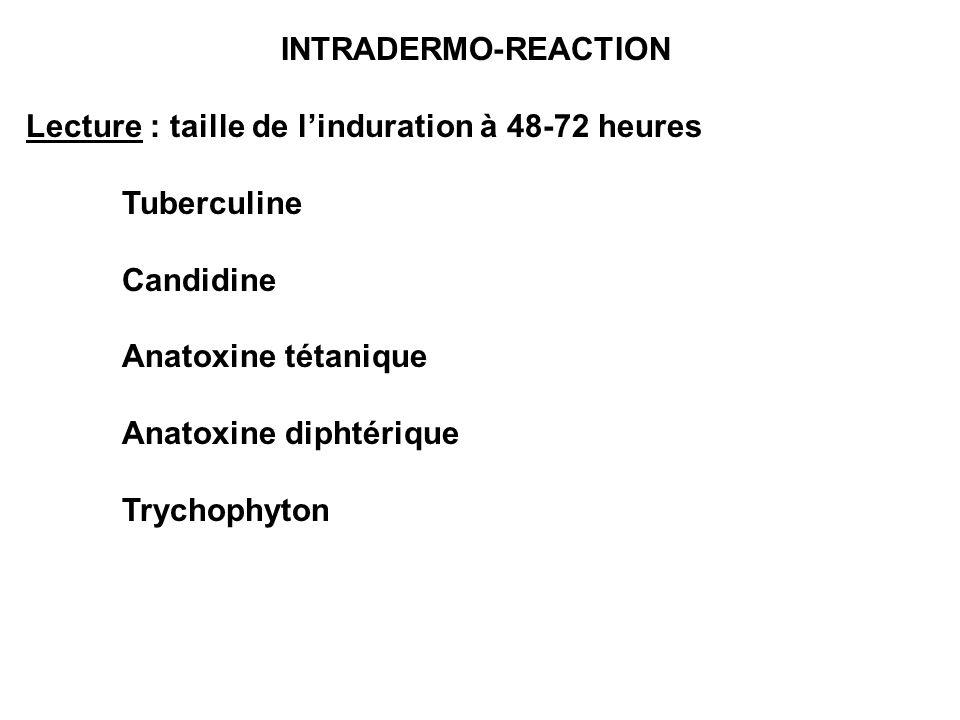 INTRADERMO-REACTION Lecture : taille de linduration à 48-72 heures Tuberculine Candidine Anatoxine tétanique Anatoxine diphtérique Trychophyton
