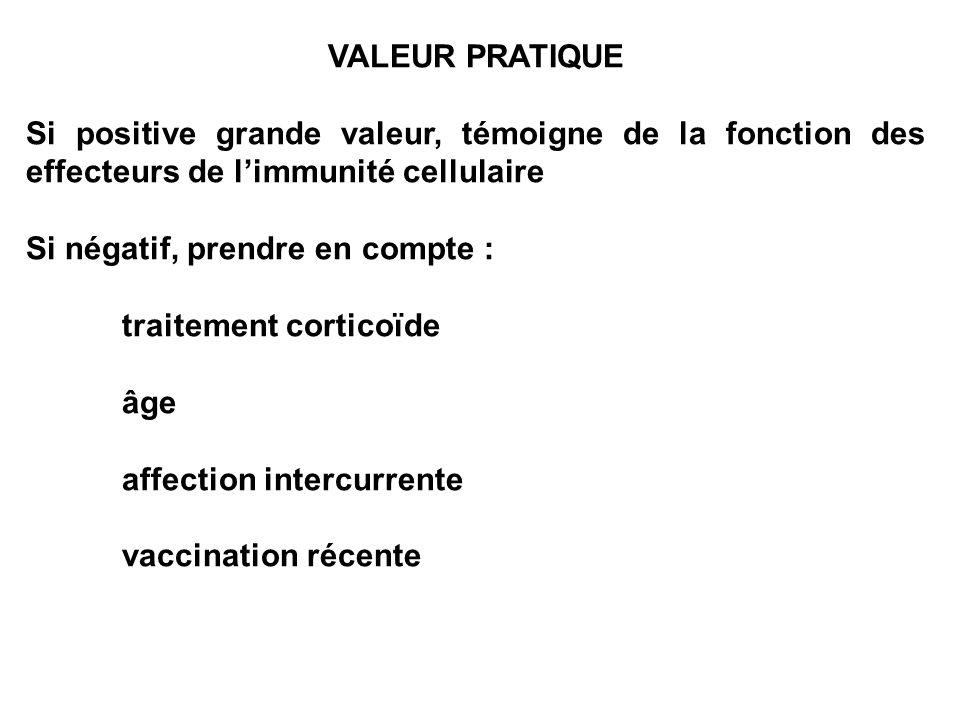 VALEUR PRATIQUE Si positive grande valeur, témoigne de la fonction des effecteurs de limmunité cellulaire Si négatif, prendre en compte : traitement c