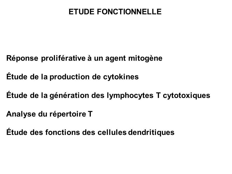 ETUDE FONCTIONNELLE Réponse proliférative à un agent mitogène Étude de la production de cytokines Étude de la génération des lymphocytes T cytotoxique