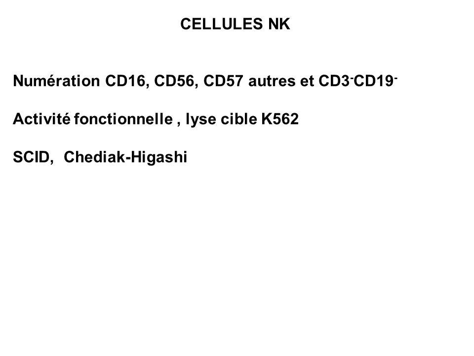 CELLULES NK Numération CD16, CD56, CD57 autres et CD3 - CD19 - Activité fonctionnelle, lyse cible K562 SCID, Chediak-Higashi