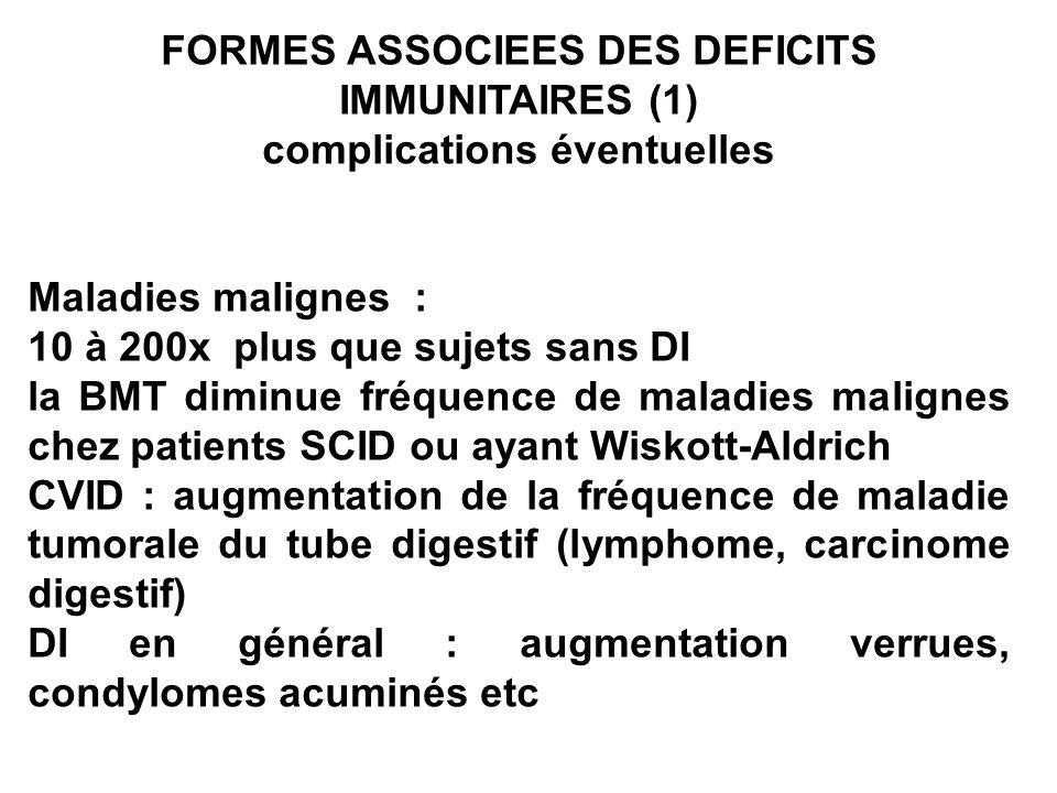 FORMES ASSOCIEES DES DEFICITS IMMUNITAIRES (1) complications éventuelles Maladies malignes : 10 à 200x plus que sujets sans DI la BMT diminue fréquenc