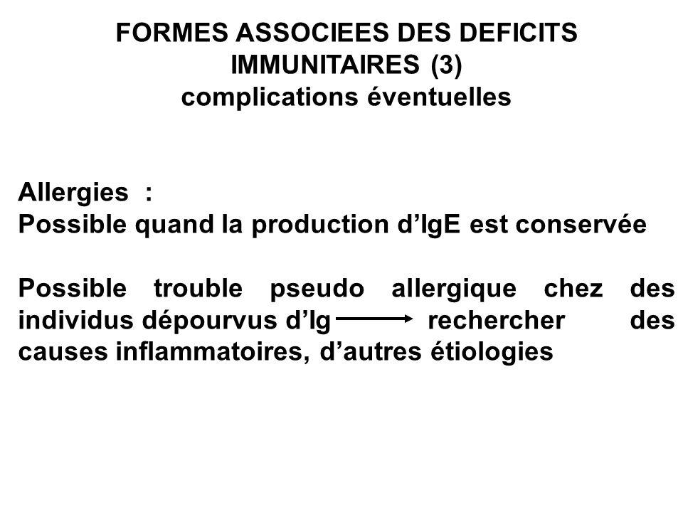 FORMES ASSOCIEES DES DEFICITS IMMUNITAIRES (3) complications éventuelles Allergies : Possible quand la production dIgE est conservée Possible trouble